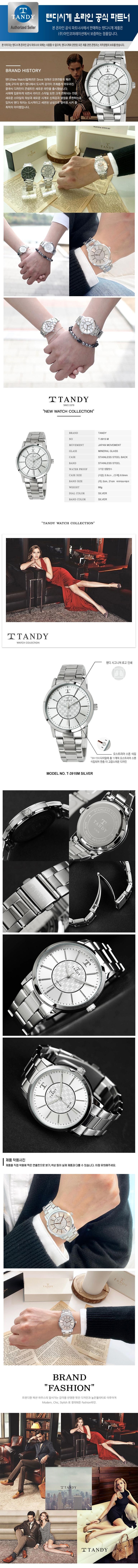 탠디(TANDY) [TANDY] 탠디 시그니쳐 럭셔리 메탈 (스와로브스키 식입) T-3915 실버 남자손목시계